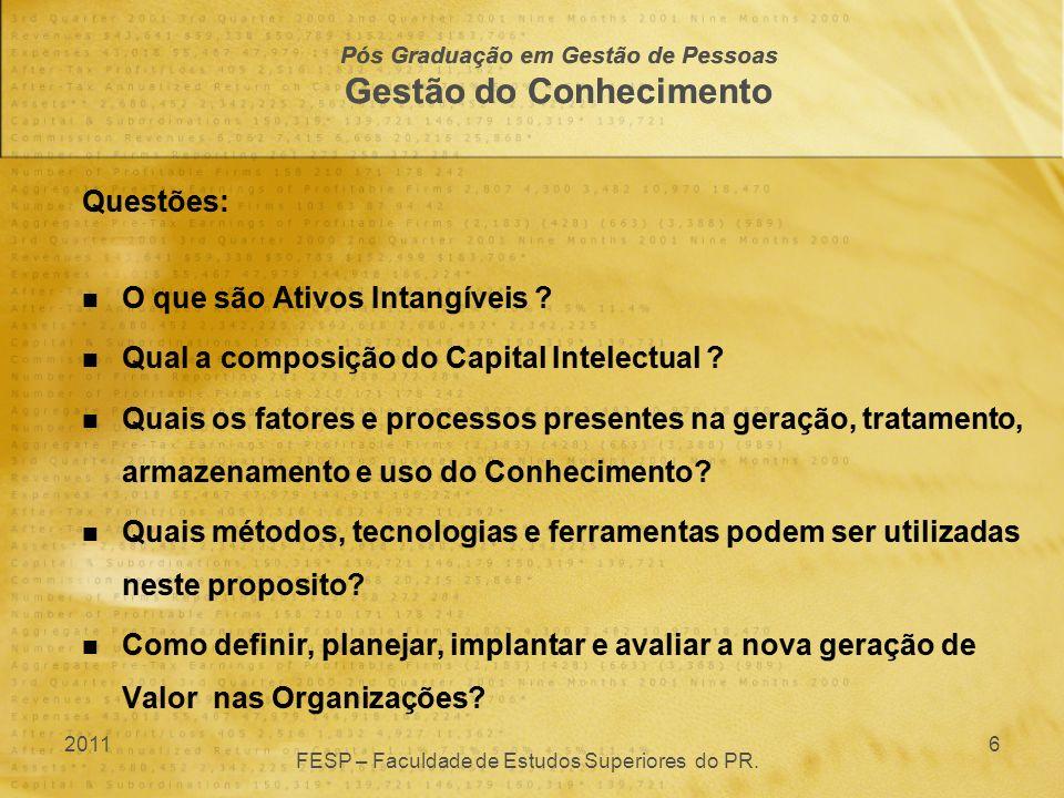 Questões: O que são Ativos Intangíveis ? Qual a composição do Capital Intelectual ? Quais os fatores e processos presentes na geração, tratamento, arm