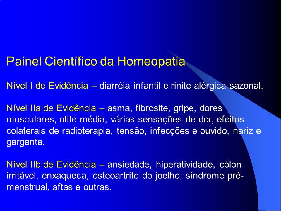 Painel Científico da Homeopatia Nível I de Evidência – diarréia infantil e rinite alérgica sazonal. Nível IIa de Evidência – asma, fibrosite, gripe, d