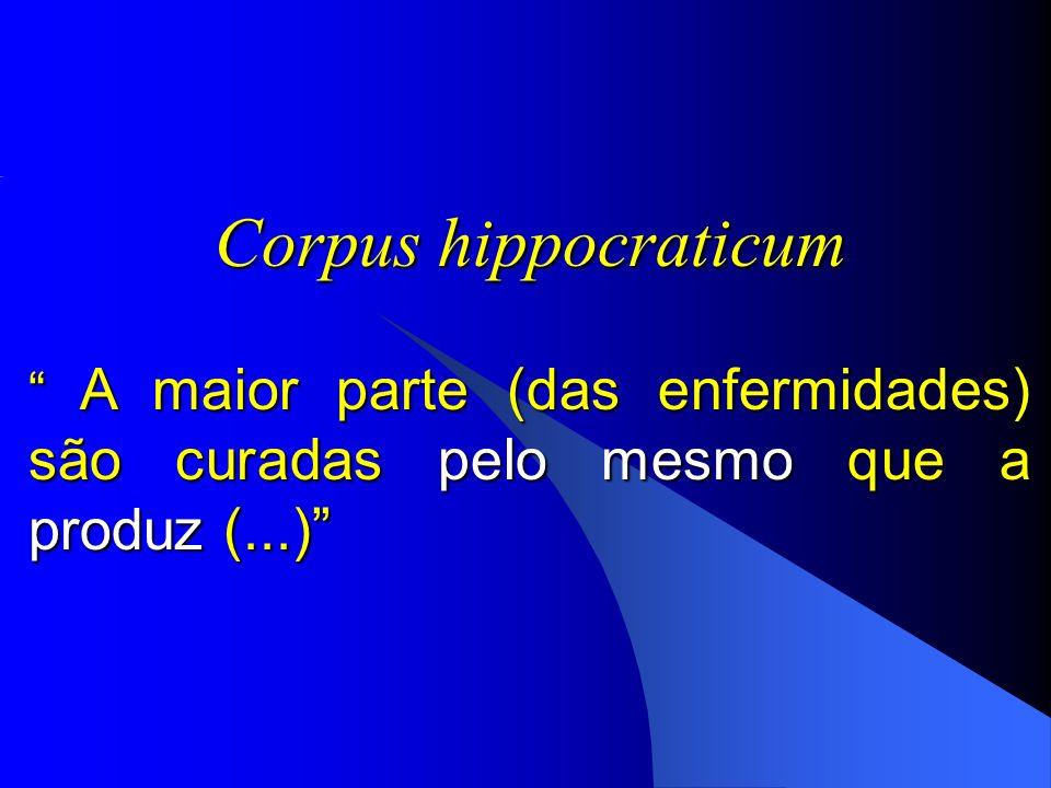Corpus hippocraticum A maior parte (das enfermidades) são curadas pelo mesmo que a produz (...) A maior parte (das enfermidades) são curadas pelo mesm