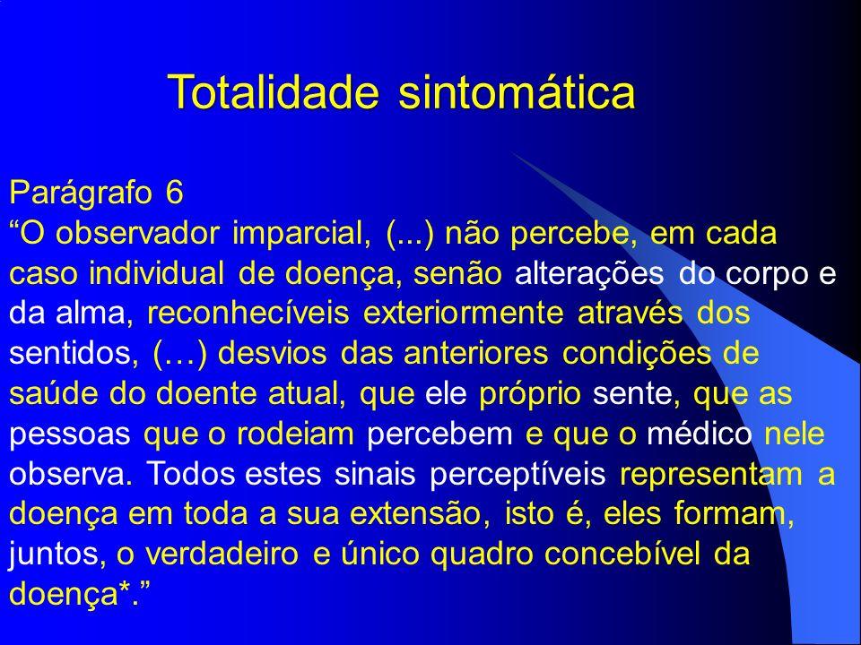 Totalidade sintomática Parágrafo 6 O observador imparcial, (...) não percebe, em cada caso individual de doença, senão alterações do corpo e da alma,