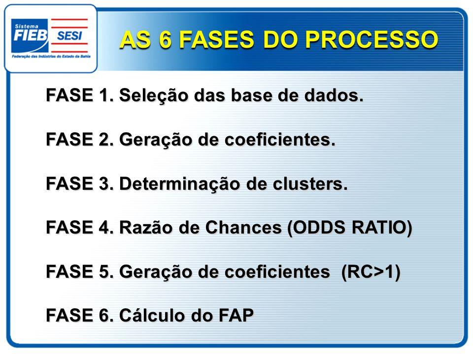 FASE 1. Seleção das base de dados. FASE 2. Geração de coeficientes. FASE 3. Determinação de clusters. FASE 4. Razão de Chances (ODDS RATIO) FASE 5. Ge