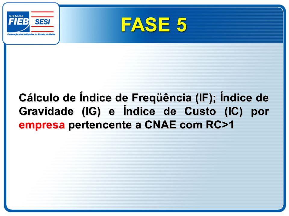 Cálculo de Índice de Freqüência (IF); Índice de Gravidade (IG) e Índice de Custo (IC) por empresa pertencente a CNAE com RC>1 FASE 5