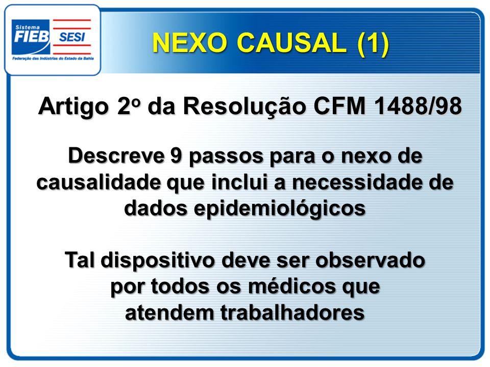Descreve 9 passos para o nexo de causalidade que inclui a necessidade de dados epidemiológicos Tal dispositivo deve ser observado por todos os médicos