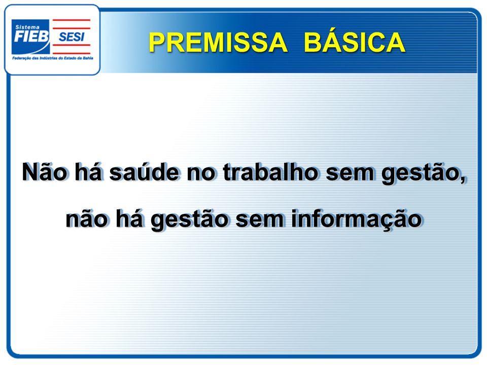 Não há saúde no trabalho sem gestão, não há gestão sem informação PREMISSA BÁSICA