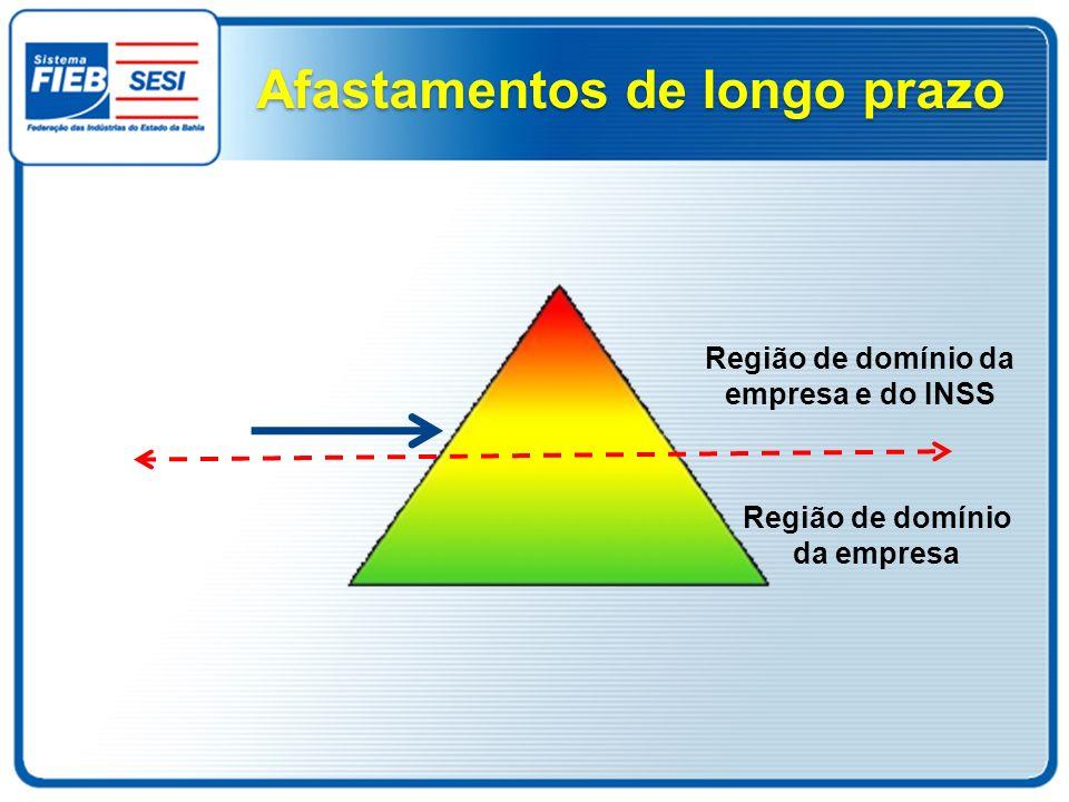 Afastamentos de longo prazo Região de domínio da empresa Região de domínio da empresa e do INSS