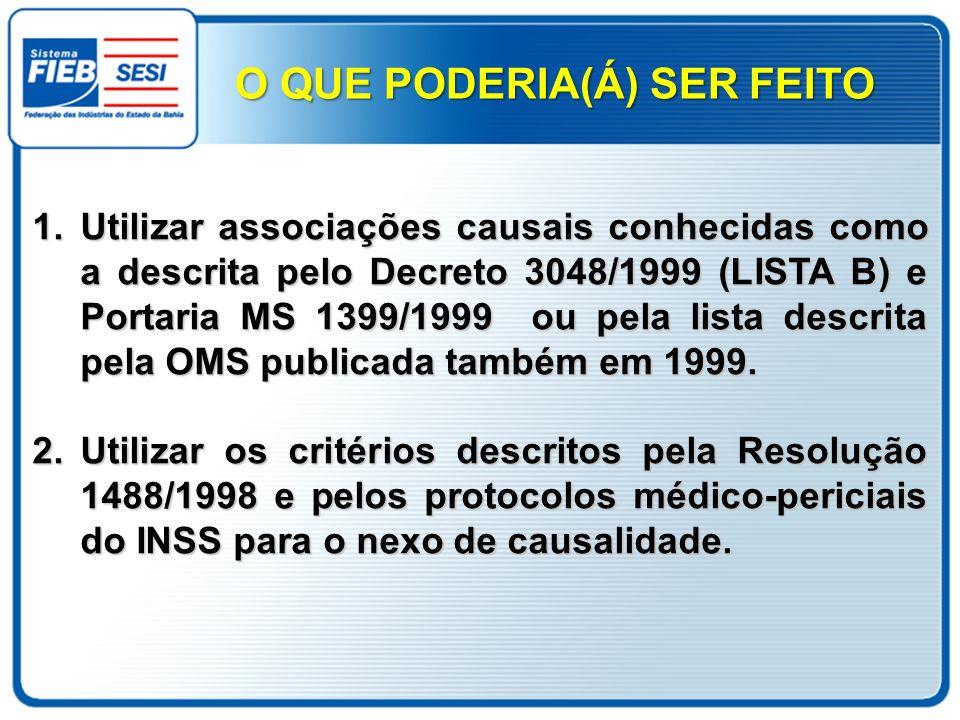 1.Utilizar associações causais conhecidas como a descrita pelo Decreto 3048/1999 (LISTA B) e Portaria MS 1399/1999 ou pela lista descrita pela OMS pub