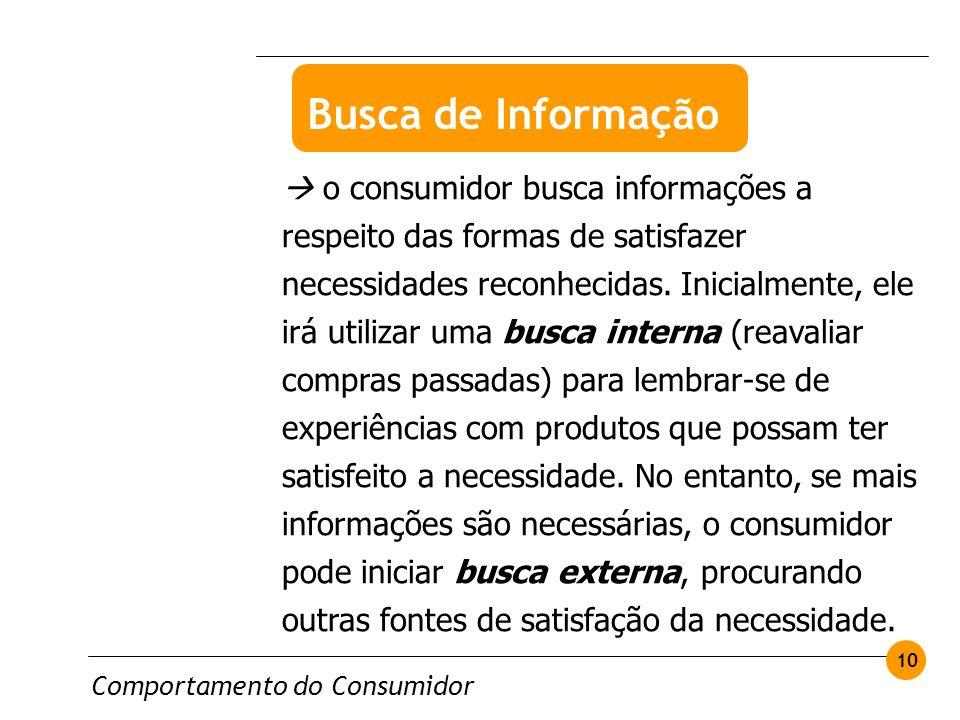 Comportamento do Consumidor 10 o consumidor busca informações a respeito das formas de satisfazer necessidades reconhecidas. Inicialmente, ele irá uti