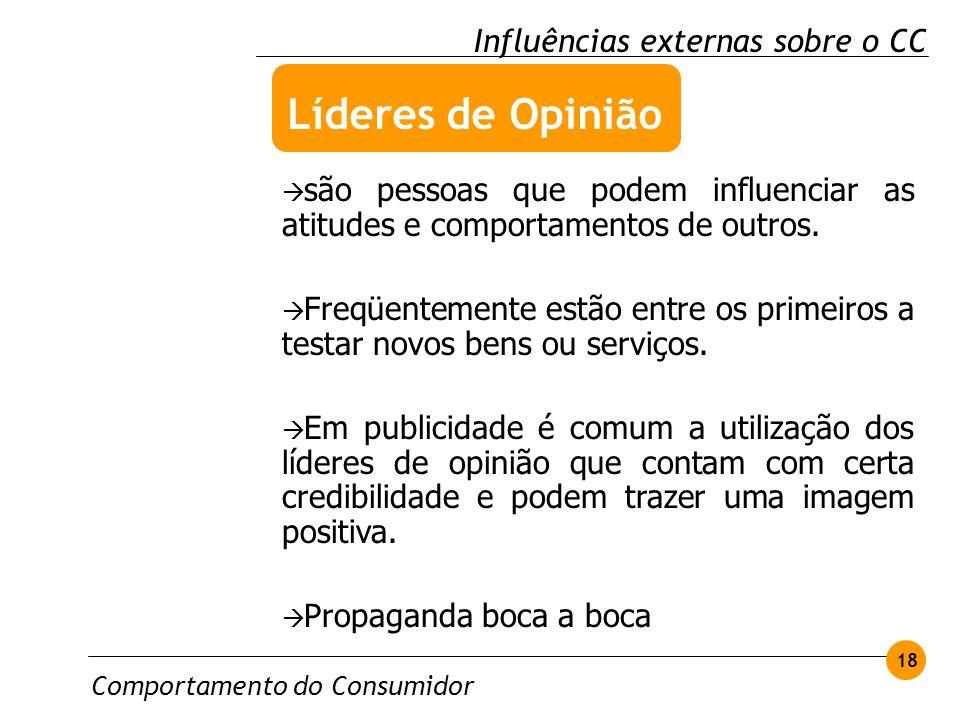 Comportamento do Consumidor 18 Influências externas sobre o CC são pessoas que podem influenciar as atitudes e comportamentos de outros. Freqüentement