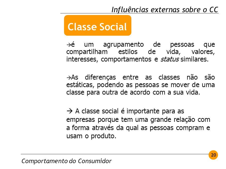 Comportamento do Consumidor 20 Influências externas sobre o CC é um agrupamento de pessoas que compartilham estilos de vida, valores, interesses, comp