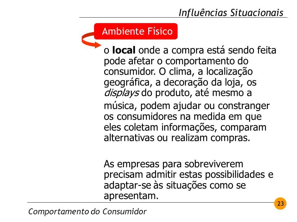 Comportamento do Consumidor 23 Influências Situacionais Ambiente Físico o local onde a compra está sendo feita pode afetar o comportamento do consumid