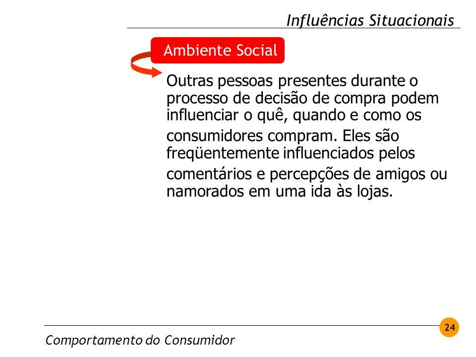 Comportamento do Consumidor 24 Influências Situacionais Ambiente Social Outras pessoas presentes durante o processo de decisão de compra podem influen