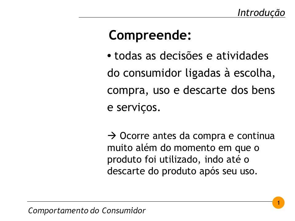 todas as decisões e atividades do consumidor ligadas à escolha, compra, uso e descarte dos bens e serviços. Ocorre antes da compra e continua muito al