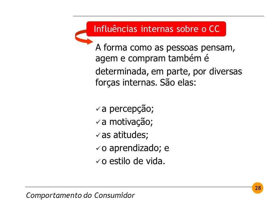 Comportamento do Consumidor 28 Influências internas sobre o CC A forma como as pessoas pensam, agem e compram também é determinada, em parte, por dive