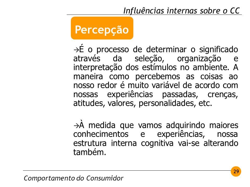 Comportamento do Consumidor 29 Influências internas sobre o CC É o processo de determinar o significado através da seleção, organização e interpretaçã