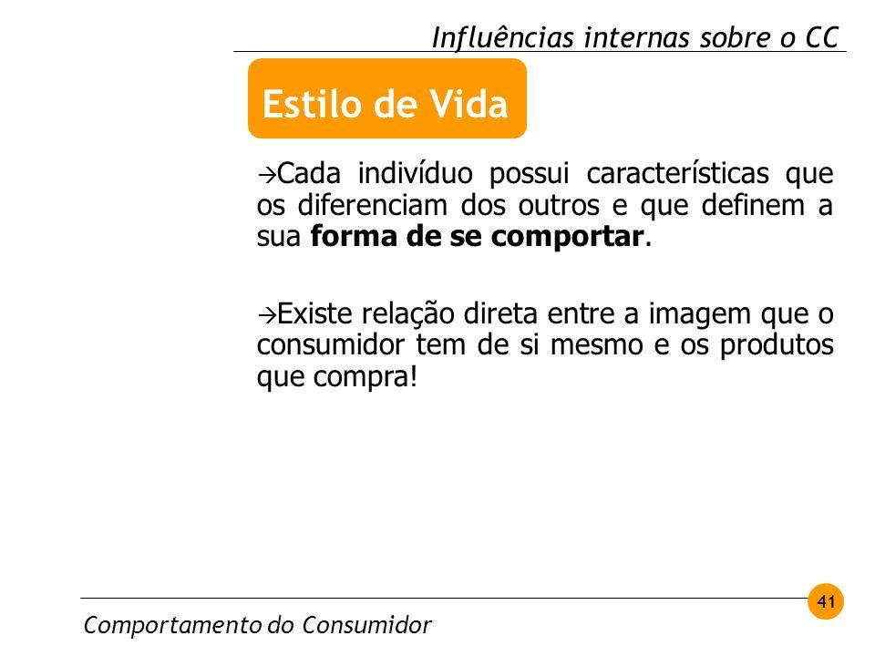 Comportamento do Consumidor 41 Influências internas sobre o CC Cada indivíduo possui características que os diferenciam dos outros e que definem a sua