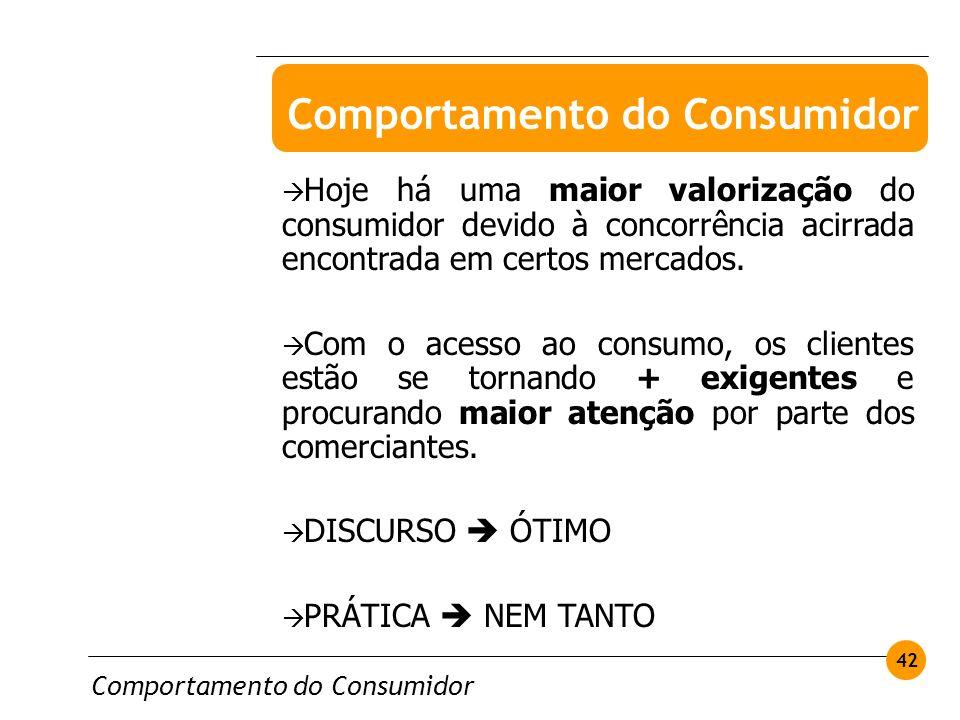 Comportamento do Consumidor 42 Hoje há uma maior valorização do consumidor devido à concorrência acirrada encontrada em certos mercados. Com o acesso