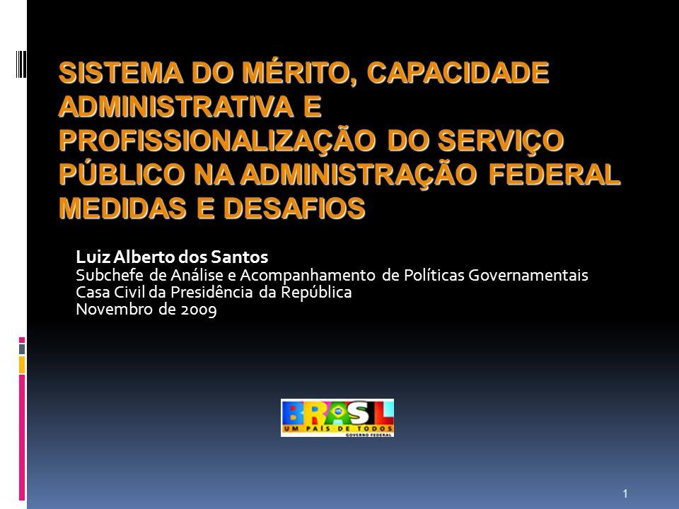 1 SISTEMA DO MÉRITO, CAPACIDADE ADMINISTRATIVA E PROFISSIONALIZAÇÃO DO SERVIÇO PÚBLICO NA ADMINISTRAÇÃO FEDERAL MEDIDAS E DESAFIOS Luiz Alberto dos Sa