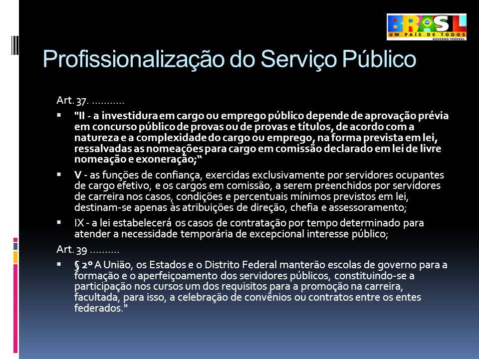 Profissionalização do Serviço Público Art. 37............
