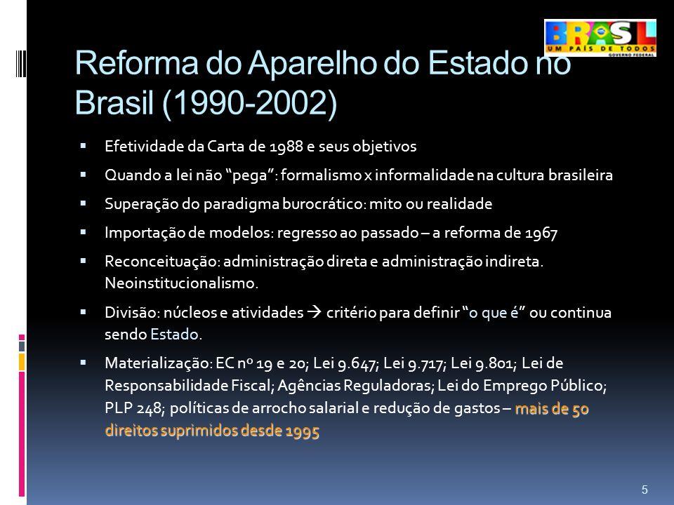 Reforma do Aparelho do Estado no Brasil (1990-2002) Efetividade da Carta de 1988 e seus objetivos Quando a lei não pega: formalismo x informalidade na