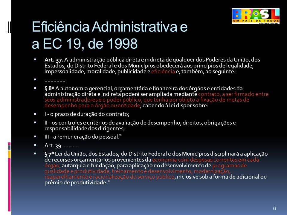 Eficiência Administrativa e a EC 19, de 1998 Art. 37. A administração pública direta e indireta de qualquer dos Poderes da União, dos Estados, do Dist