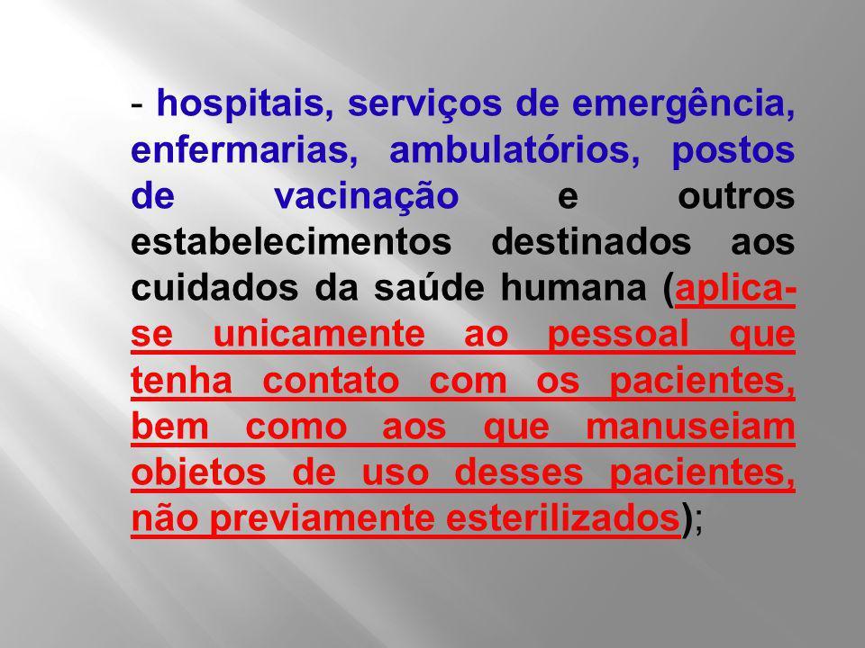 - hospitais, serviços de emergência, enfermarias, ambulatórios, postos de vacinação e outros estabelecimentos destinados aos cuidados da saúde humana