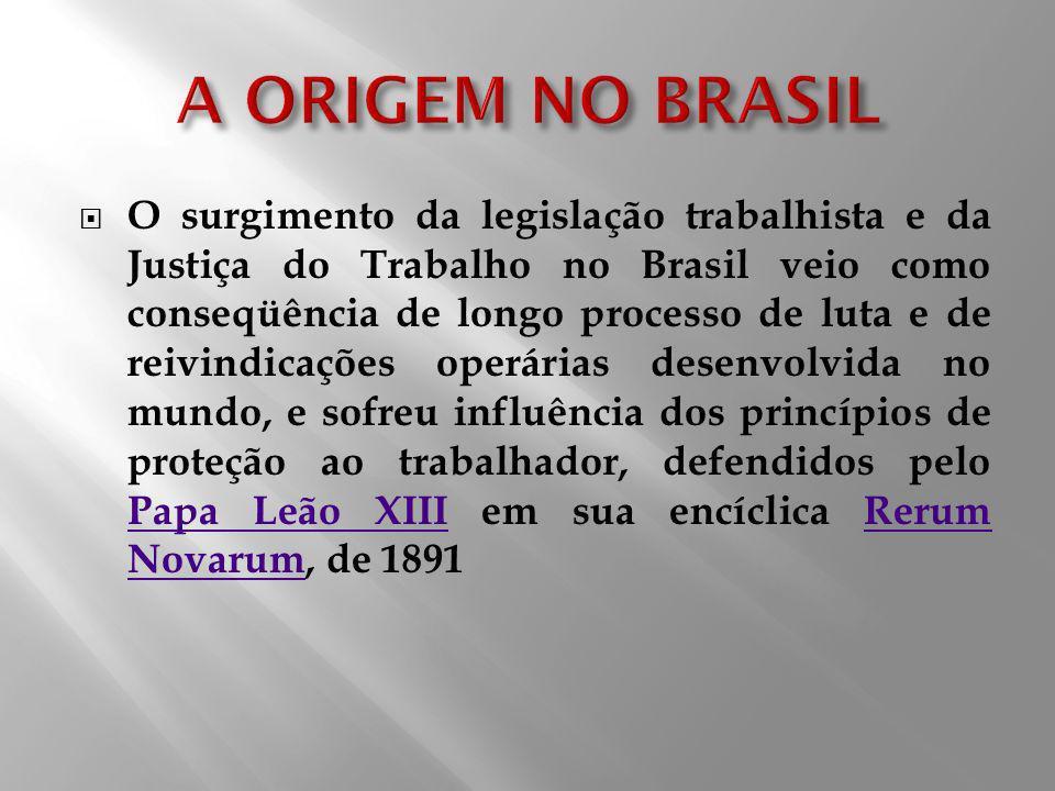 O surgimento da legislação trabalhista e da Justiça do Trabalho no Brasil veio como conseqüência de longo processo de luta e de reivindicações operári