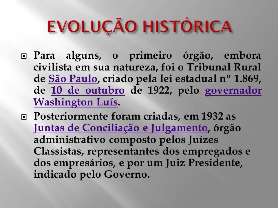 Para alguns, o primeiro órgão, embora civilista em sua natureza, foi o Tribunal Rural de São Paulo, criado pela lei estadual nº 1.869, de 10 de outubr