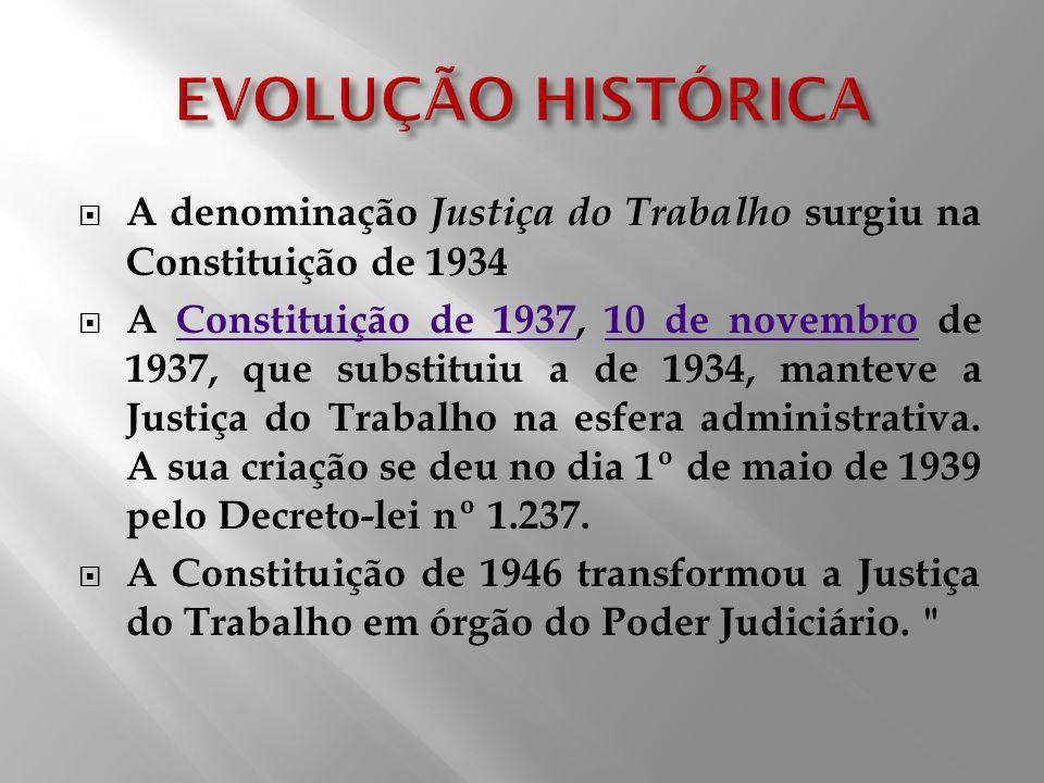 A denominação Justiça do Trabalho surgiu na Constituição de 1934 A Constituição de 1937, 10 de novembro de 1937, que substituiu a de 1934, manteve a J
