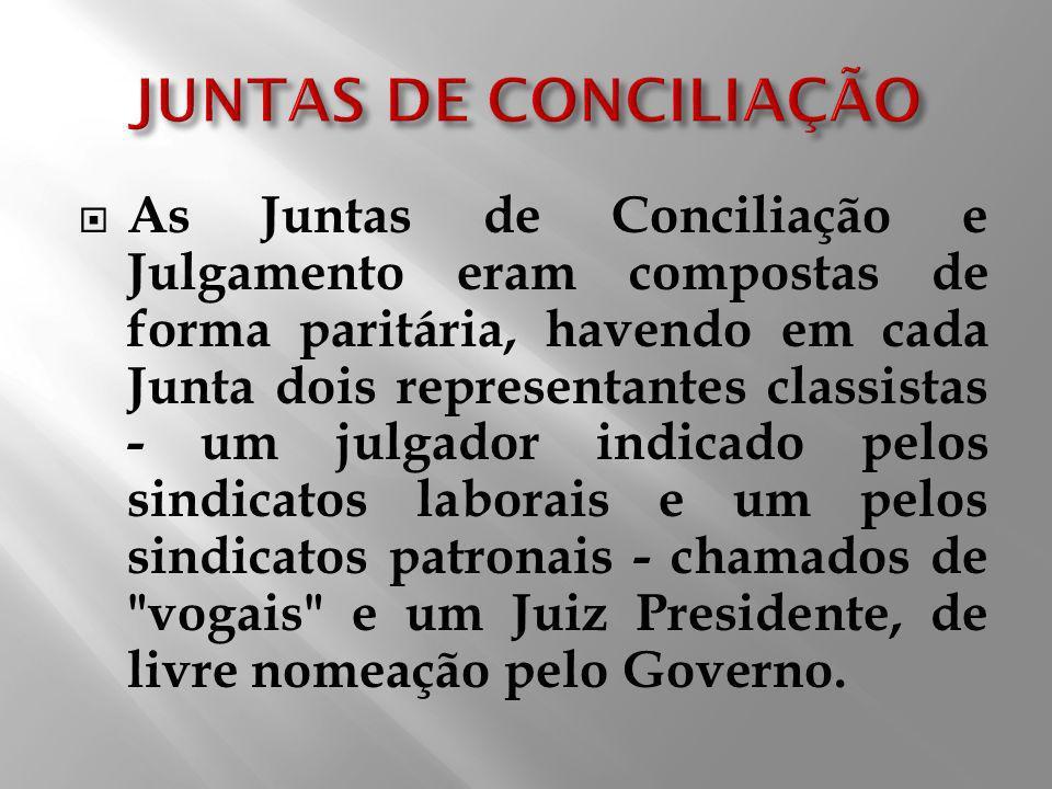 As Juntas de Conciliação e Julgamento eram compostas de forma paritária, havendo em cada Junta dois representantes classistas - um julgador indicado p