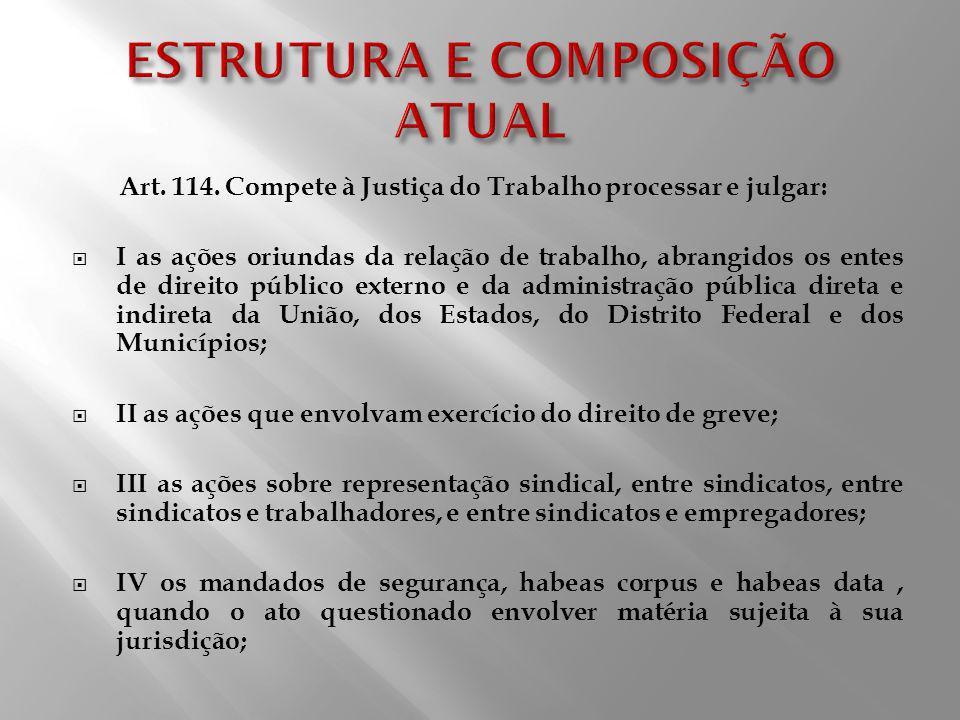 Art. 114. Compete à Justiça do Trabalho processar e julgar: I as ações oriundas da relação de trabalho, abrangidos os entes de direito público externo