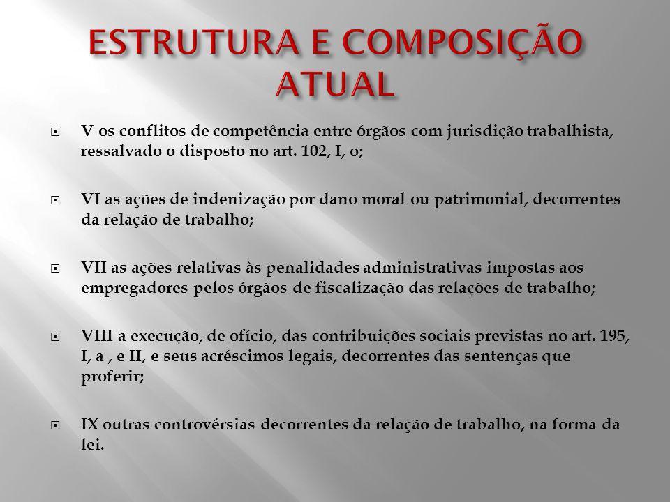 V os conflitos de competência entre órgãos com jurisdição trabalhista, ressalvado o disposto no art. 102, I, o; VI as ações de indenização por dano mo