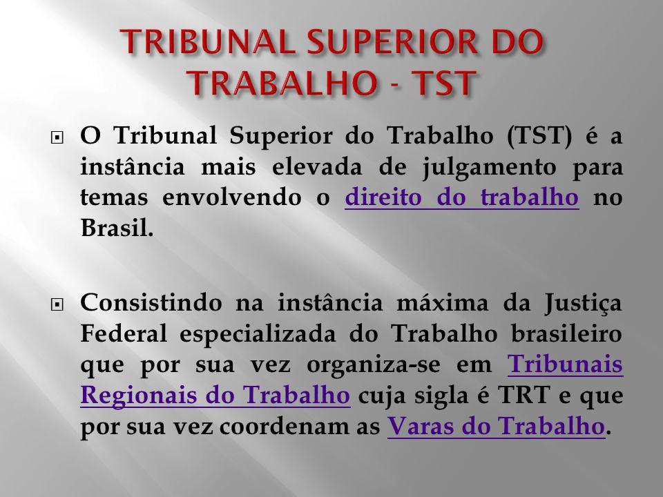 O Tribunal Superior do Trabalho (TST) é a instância mais elevada de julgamento para temas envolvendo o direito do trabalho no Brasil.direito do trabal