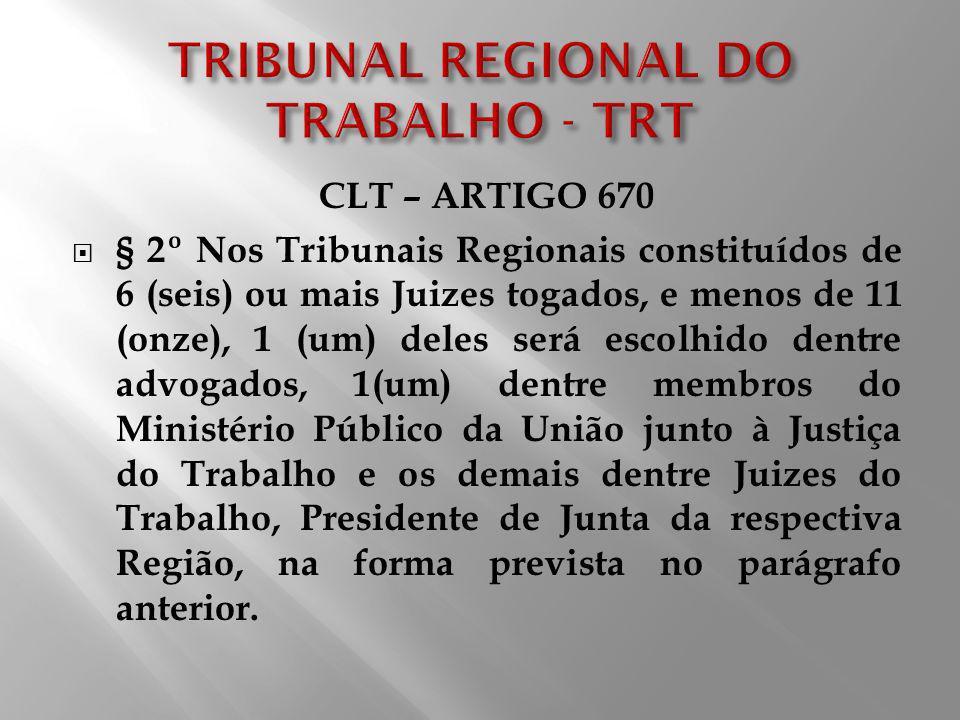 CLT – ARTIGO 670 § 2º Nos Tribunais Regionais constituídos de 6 (seis) ou mais Juizes togados, e menos de 11 (onze), 1 (um) deles será escolhido dentr