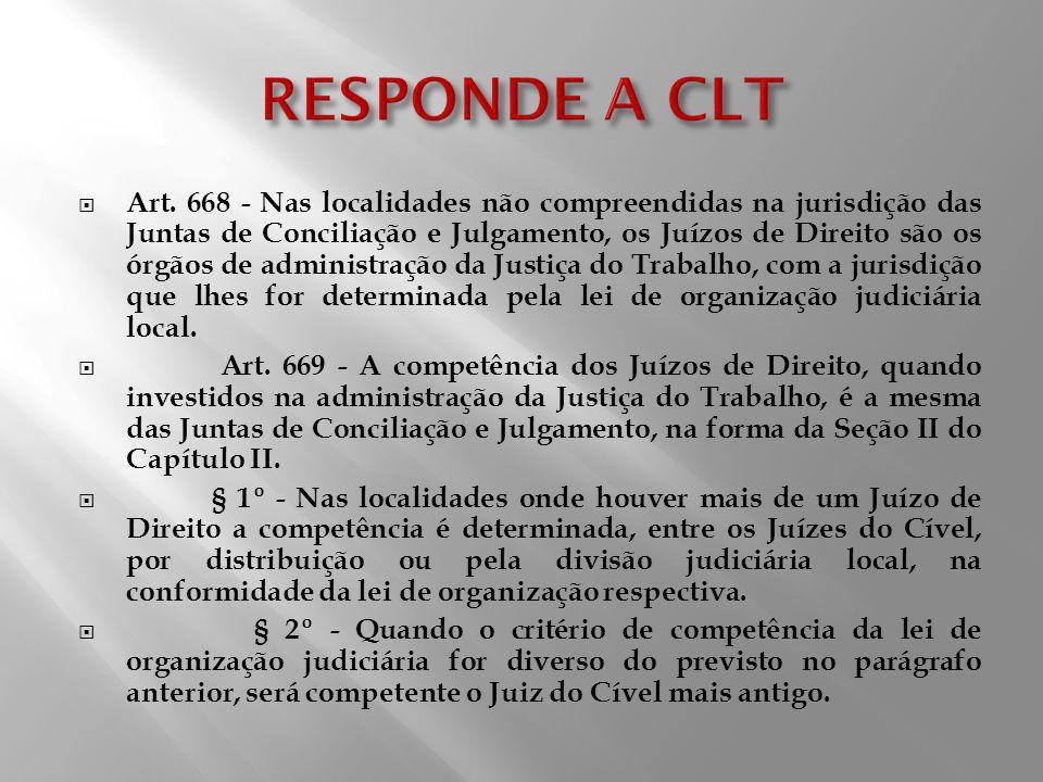 Art. 668 - Nas localidades não compreendidas na jurisdição das Juntas de Conciliação e Julgamento, os Juízos de Direito são os órgãos de administração