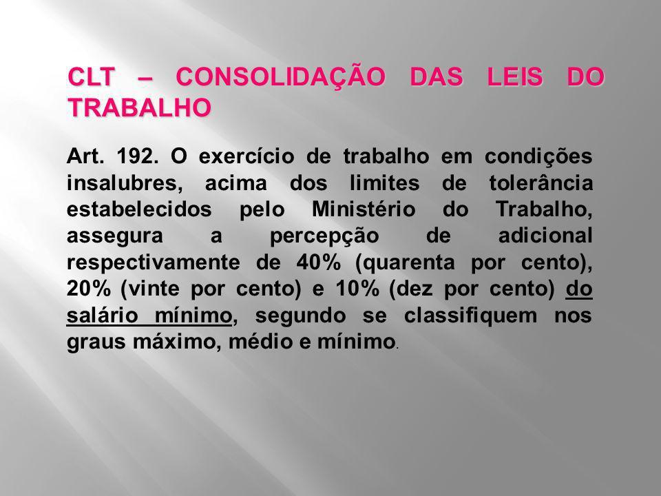 CLT – CONSOLIDAÇÃO DAS LEIS DO TRABALHO Art. 192. O exercício de trabalho em condições insalubres, acima dos limites de tolerância estabelecidos pelo