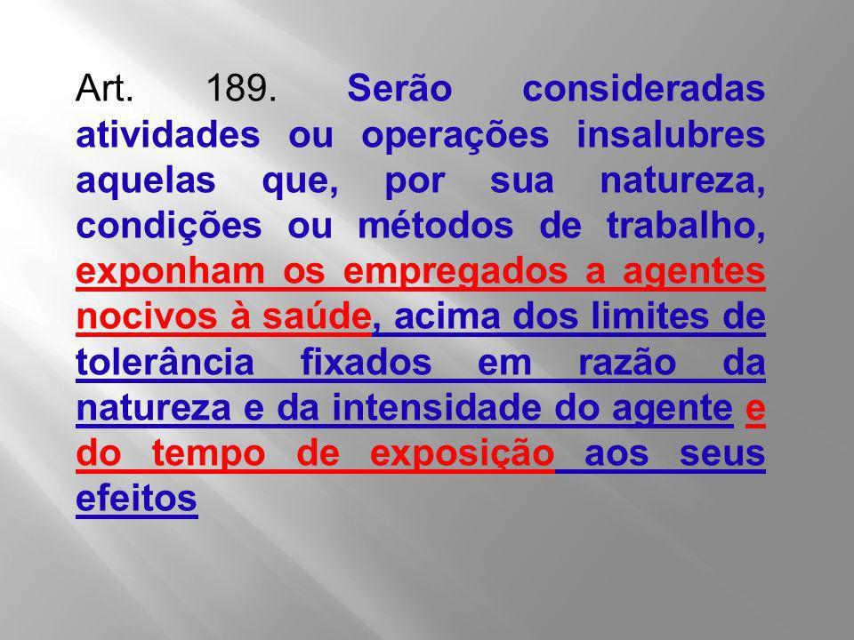Art. 189. Serão consideradas atividades ou operações insalubres aquelas que, por sua natureza, condições ou métodos de trabalho, exponham os empregado