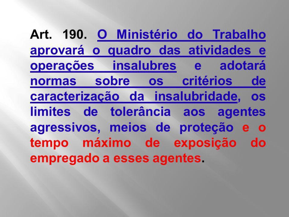 Art. 190. O Ministério do Trabalho aprovará o quadro das atividades e operações insalubres e adotará normas sobre os critérios de caracterização da in