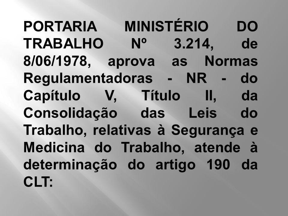 PORTARIA MINISTÉRIO DO TRABALHO Nº 3.214, de 8/06/1978, aprova as Normas Regulamentadoras - NR - do Capítulo V, Título II, da Consolidação das Leis do