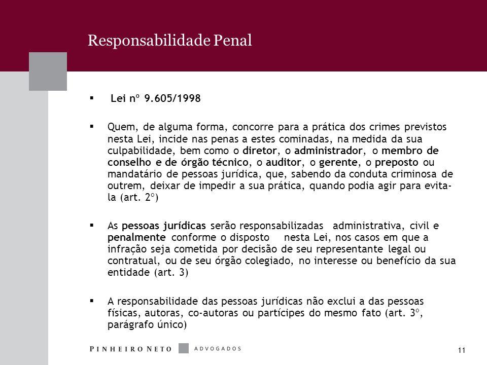 11 Responsabilidade Penal Lei nº 9.605/1998 Quem, de alguma forma, concorre para a prática dos crimes previstos nesta Lei, incide nas penas a estes co
