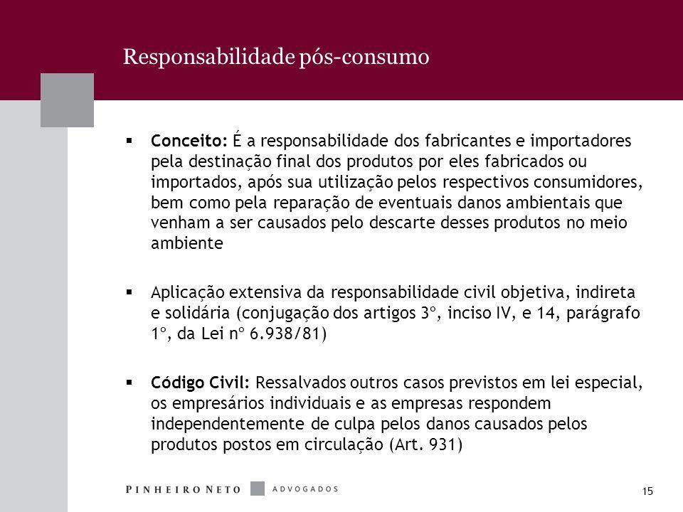 15 Responsabilidade pós-consumo Conceito: É a responsabilidade dos fabricantes e importadores pela destinação final dos produtos por eles fabricados o