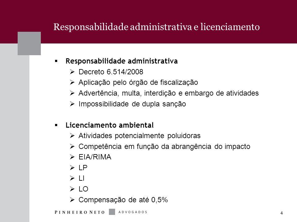4 Responsabilidade administrativa e licenciamento Responsabilidade administrativa Decreto 6.514/2008 Aplicação pelo órgão de fiscalização Advertência,