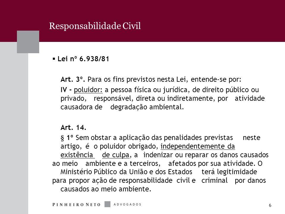 6 Responsabilidade Civil Lei nº 6.938/81 Art. 3º. Para os fins previstos nesta Lei, entende-se por: IV - poluidor: a pessoa física ou jurídica, de dir
