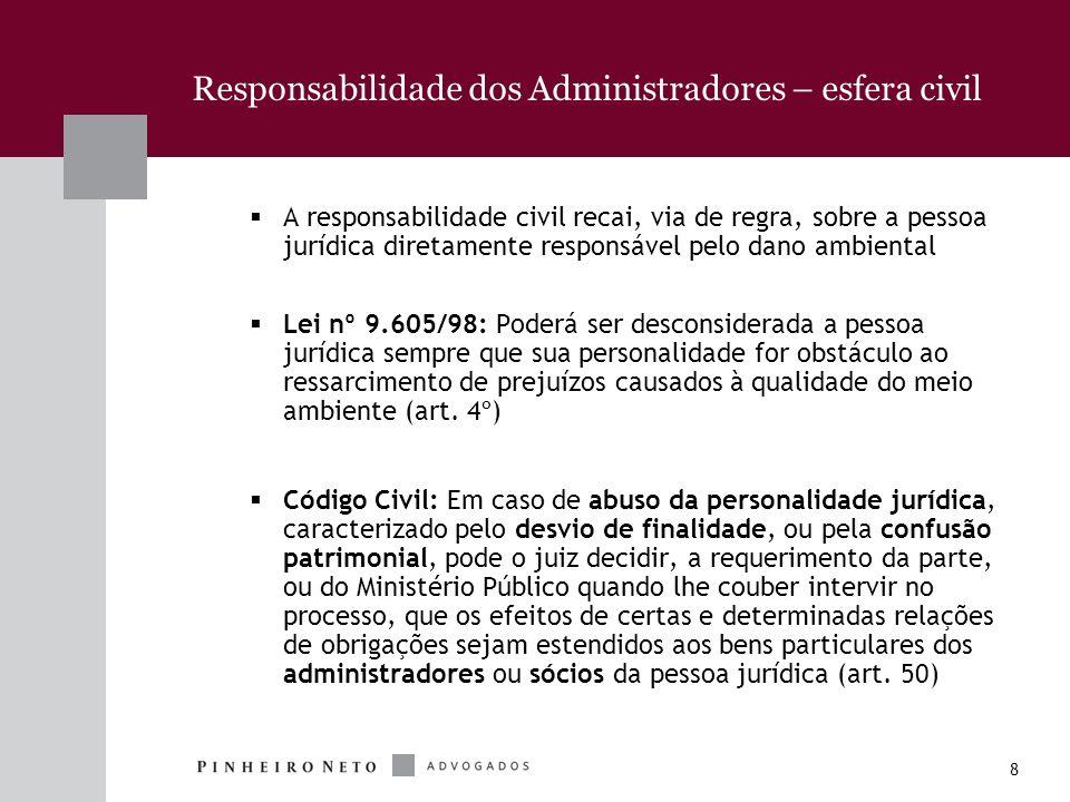 8 Responsabilidade dos Administradores – esfera civil A responsabilidade civil recai, via de regra, sobre a pessoa jurídica diretamente responsável pe