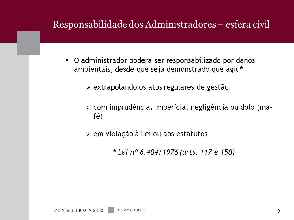 9 Responsabilidade dos Administradores – esfera civil O administrador poderá ser responsabilizado por danos ambientais, desde que seja demonstrado que