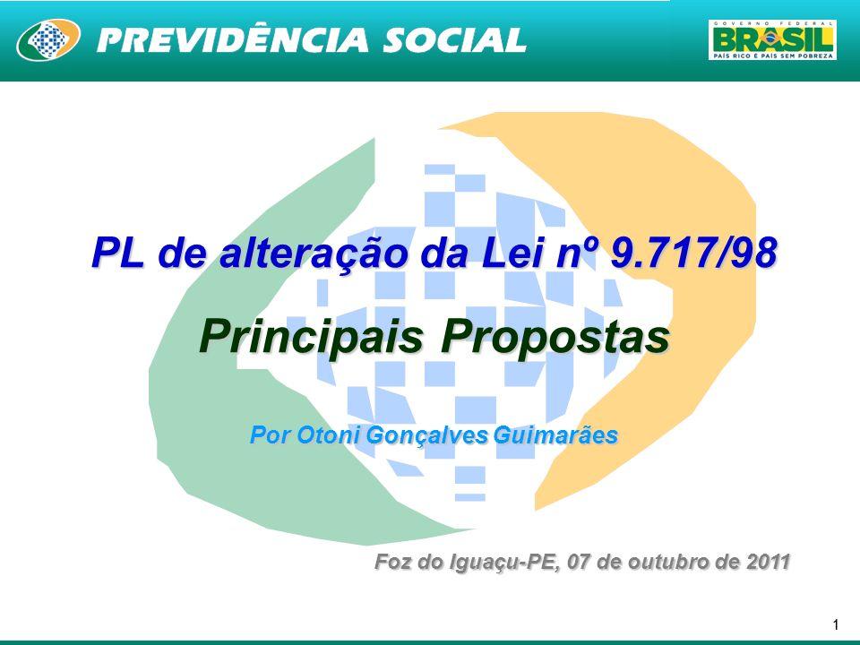 11 PL de alteração da Lei nº 9.717/98 Principais Propostas Por Otoni Gonçalves Guimarães Foz do Iguaçu-PE, 07 de outubro de 2011