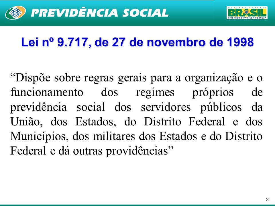 22 Lei nº 9.717, de 27 de novembro de 1998 Dispõe sobre regras gerais para a organização e o funcionamento dos regimes próprios de previdência social dos servidores públicos da União, dos Estados, do Distrito Federal e dos Municípios, dos militares dos Estados e do Distrito Federal e dá outras providências