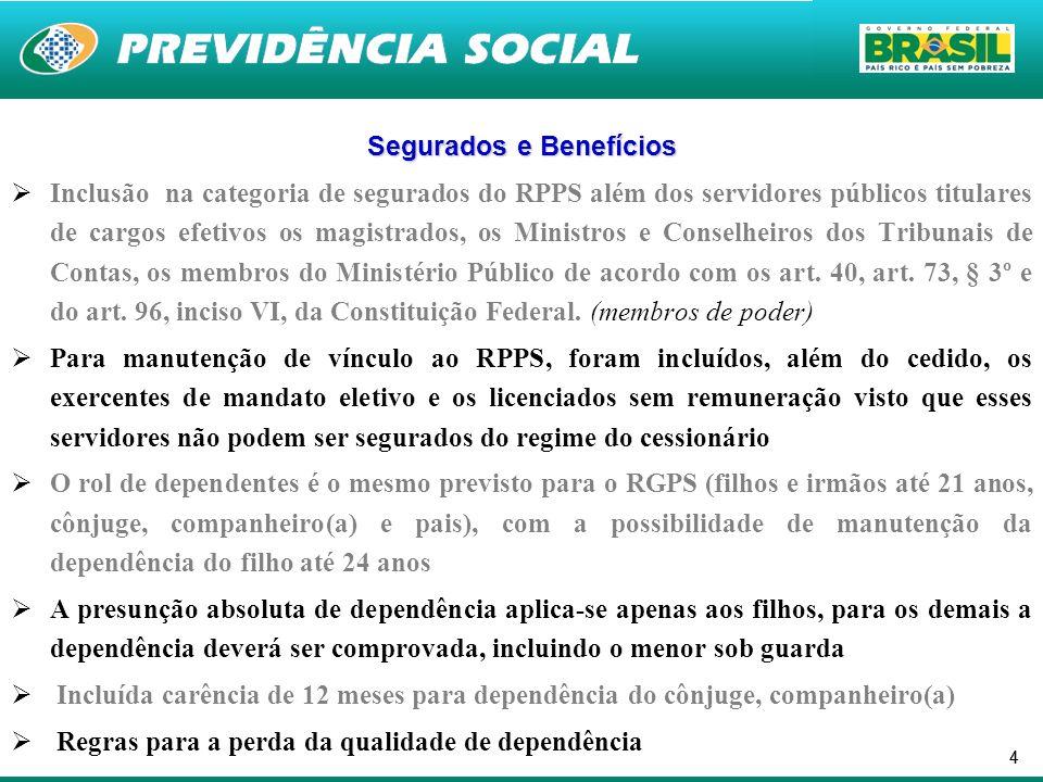 44 Segurados e Benefícios Inclusão na categoria de segurados do RPPS além dos servidores públicos titulares de cargos efetivos os magistrados, os Mini