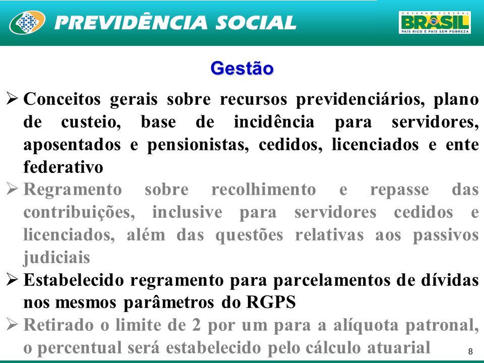 88 Gestão Conceitos gerais sobre recursos previdenciários, plano de custeio, base de incidência para servidores, aposentados e pensionistas, cedidos,
