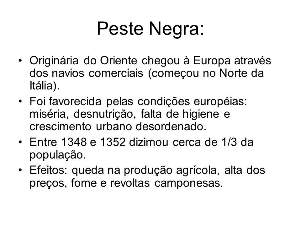 Peste Negra: Originária do Oriente chegou à Europa através dos navios comerciais (começou no Norte da Itália). Foi favorecida pelas condições européia
