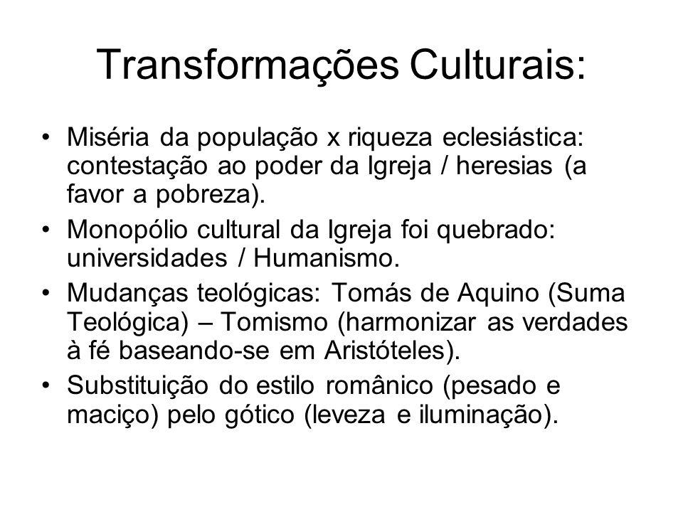 Transformações Culturais: Miséria da população x riqueza eclesiástica: contestação ao poder da Igreja / heresias (a favor a pobreza). Monopólio cultur